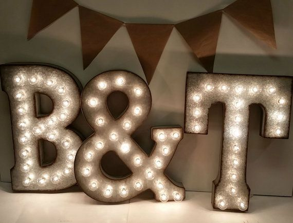 Galvanized Metal Marquee Light Letter 21 by TheLovelyGlassJar, $132.00