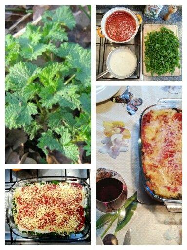 ☆ LASAGNESCHOTEL MET BRANDNETEL AL FORNO Benodigdheden: - tomatensaus met verse kruiden en uitjes - lasagnebladen - Hüttenkäse of ricotta - brandnetel - bechamelsaus - geraspte jonge kaas en/of mozzarella. Bereiding: smoor de brandnetel. Laag om laag: tomatensaus, lasagne, brandnetel, lasagne. Dit herhalen. Dek af met een laag bechamelsaus en wat geraspte jonge kaas en/of mozzarella. 20 minuten in de oven (180 graden).