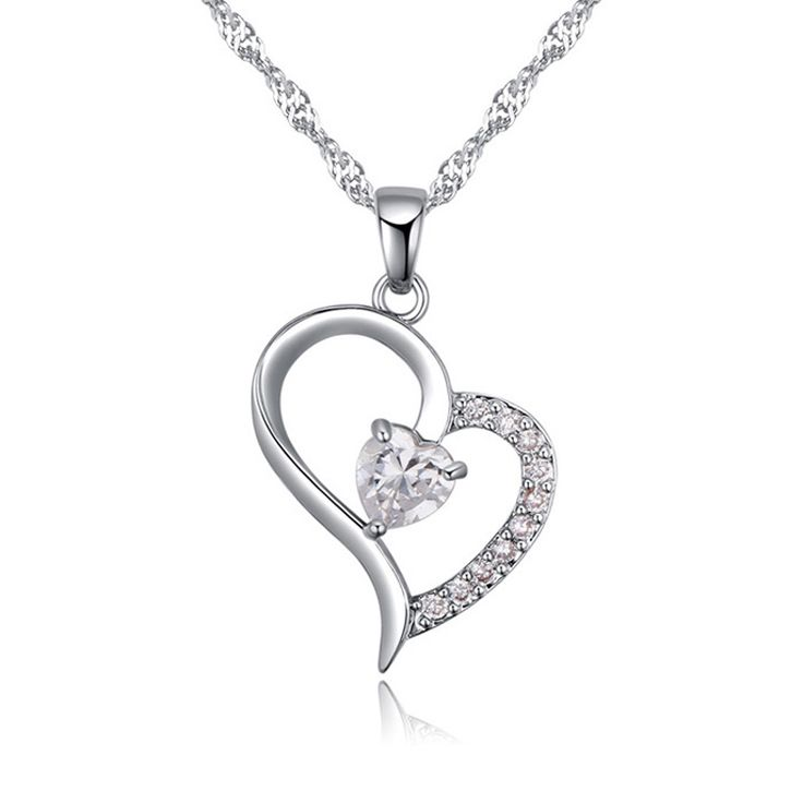 New arrival classical heart pendants with cz famous brands silver heart necklace best Valentine Day gift for girl friend
