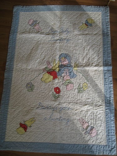 "Best Vintage Antique Baby Bunny Rabbit Crib 100 Cotton Quilt 57"" x 40"" Blanket"