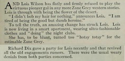 Lois Wilson -  Photoplay February 1927