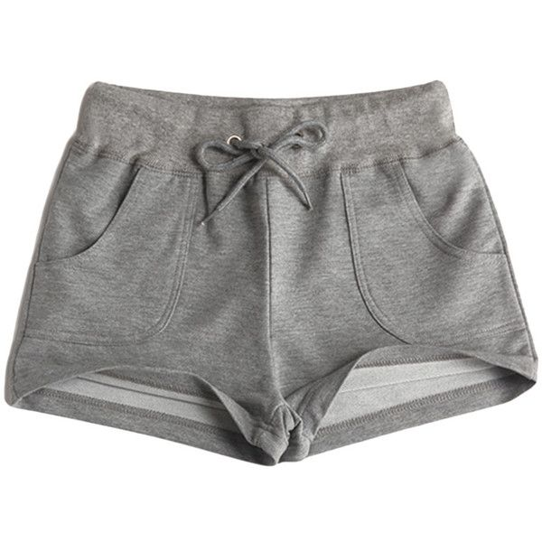 Loose Drawstring-waist Solid-tone Sport Shorts ($21) ❤ liked on Polyvore featuring shorts, bottoms, pants and sport