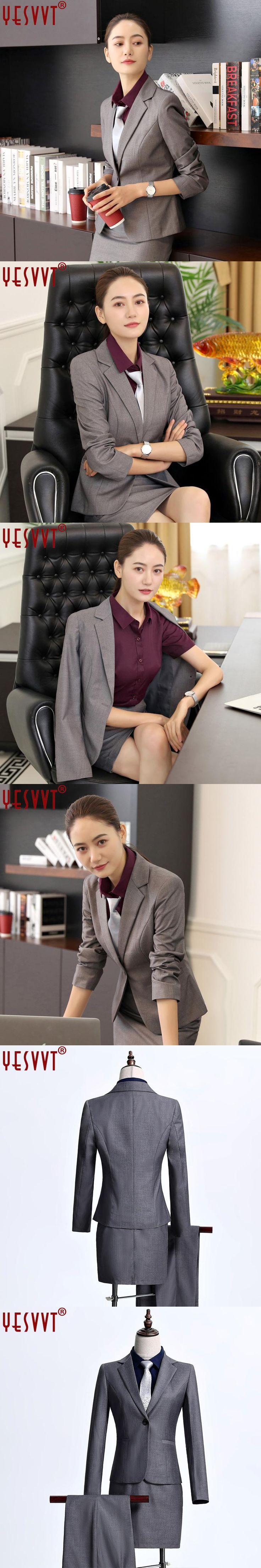 2017 Womens business suits office uniform designs female elegant office lady skirt suits two pieces gray skirt blazer 3XL 4XL