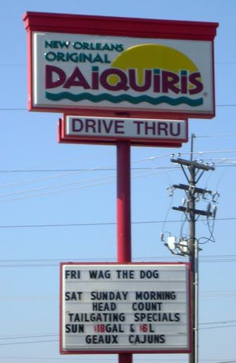 Drive-thru-daiquiri barns...not only legal but common! I went when I traveled to NOLA. SO cool!