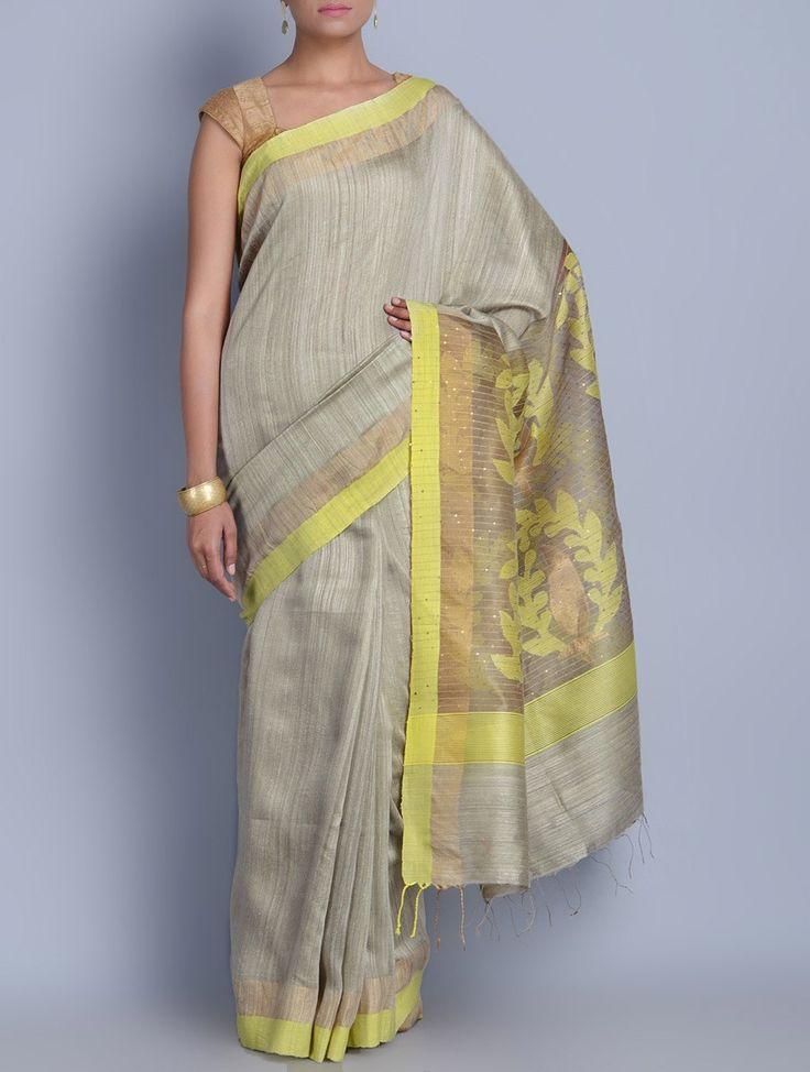 Buy Grey Yellow Silk Sequins Zari Jamdani Handwoven Saree Sarees Woven Colors of Festivity in Online at Jaypore.com