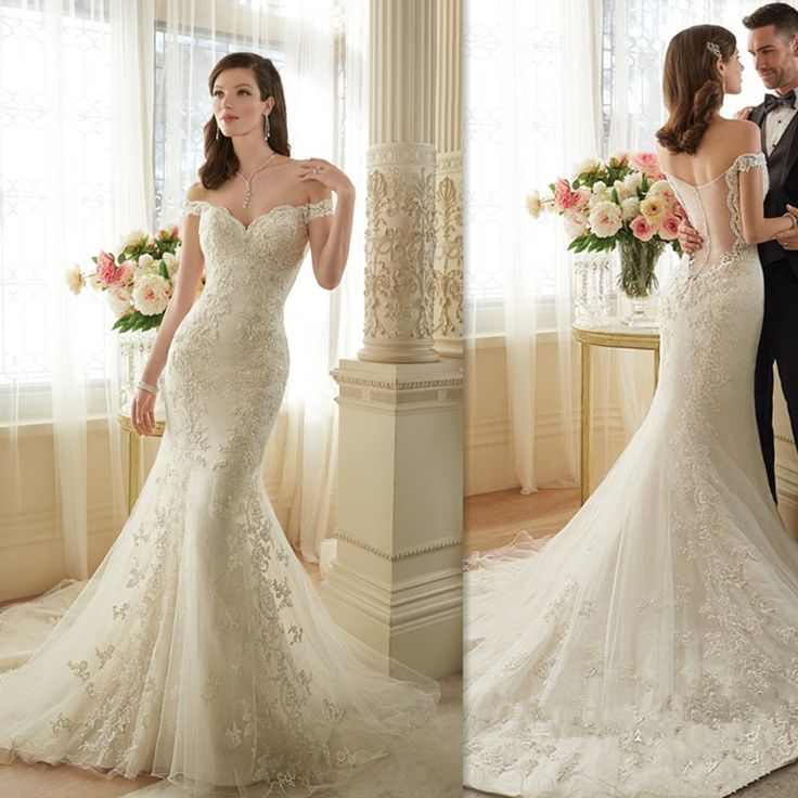 lace mermaid wedding dresses 2017 ivory off the shoulder sweetheart appliques bridal gowns tulle illusion back gothic elegant bride dress