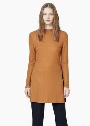 Ribbed Side Slit T-Shirt - Shop for women's T-shirt - Medium Brown T-shirt