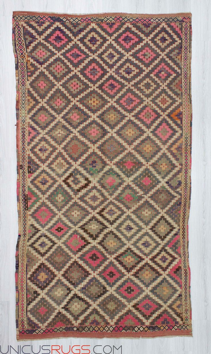 """Handwoven vintage embroidered kilim rug from Denizli region of Turkey. In very good condition. Approximately 45-55 years old. Width: 4' 11"""" - Length: 9' 1"""" Embroidered Kilims"""