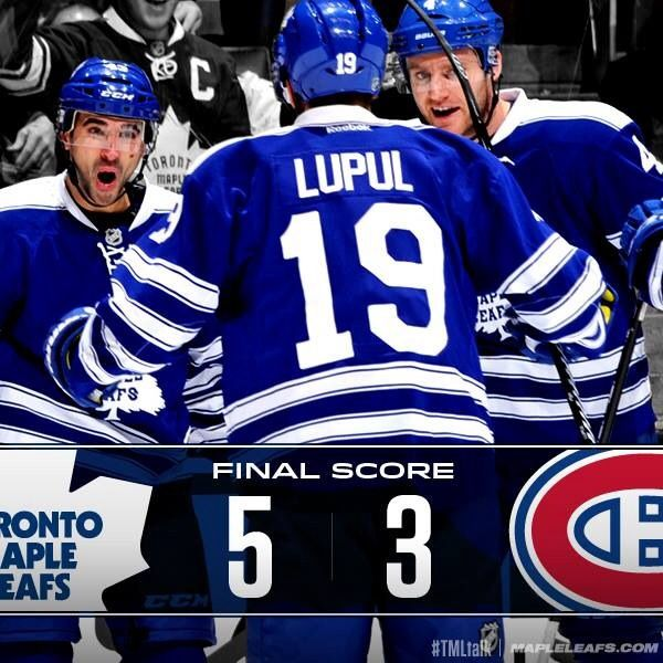 Leafs beat Habs 5-3 on two late goals from van Riemsdyk and Lupul.  Great game and great win!   January 19th, 2014
