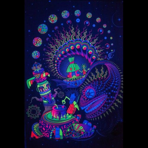 "Psychedelic Glow Backdrop with 3D effect  ""Sound Kitchen"""