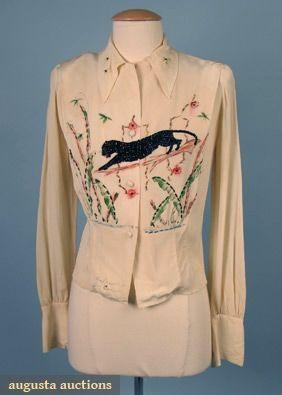 Hand-decorated Panther Blouse, 1940s, Augusta Auctions, April 2006 Vintage Clothing & Textile Auction, Lot 403