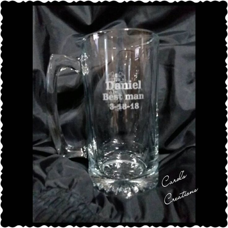 This Personalized Laser Etched Glass Sports Mug will have your choice of monograms and designs. The custom lettering is engraved permanently into the glass and is dishwasher safe! #etsy #weddings #monogrammedgift #personalizedgift #wedding #birthdaygift #personalizedglass #groomsmangift #fathersday #carolscreationsla http://etsy.me/2FfROIG