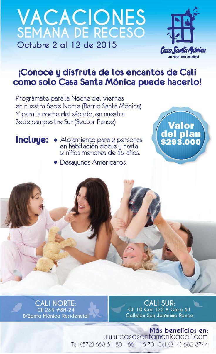 Pasa la semana de receso en familia con Casa Santa Mónica Hoteles Cali Informes y reservas:(572) 668 51 80 - 661 16 70 Cel. (314) 682 8744 #alojamiento #hospedaje #habitaciones #hotelcali www.casasantamonicacali.com