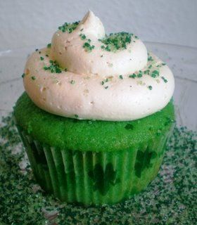 Green Velvet cupcakes topped with Bailey's Irish Creme Buttercream!