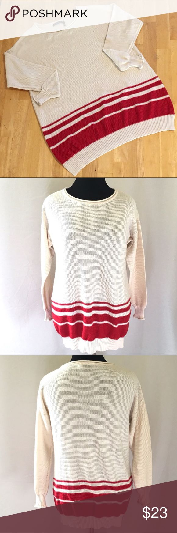 🆕 Daisy Fuentes Crew Neck Boyfriend Sweater Daisy Fuentes Crew Neck Boyfriend Sweater. Ivory with Stylish Red Stripes. Materials: 60% Cotton/40% Acrylic. Tagged as Size XL but, Runs Big. Daisy Fuentes Sweaters Crew & Scoop Necks