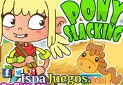 Juego de Pony Slacking | JUEGOS GRATIS: Esta chica perdió su trabajo en la ciudad y ahora a conseguido uno en un establo lleno de caballos, pero no quiere perder su estilo de jugar :), ayudarla a realizar varias cosas sin que lo descubra la jefa, realiza varios minijuegos de puzzle