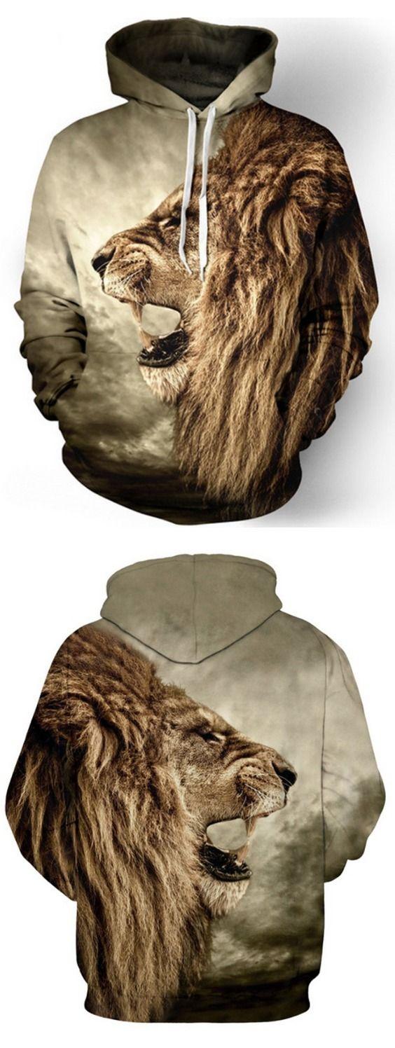 Men's Hoodie Long Sleeve Print Lion Loose Hoodie