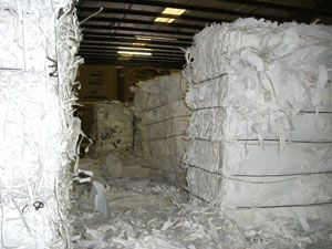 Shredded Paper in Bales, ready to be recycled at a paper mill.  Carolina Fibre Corp. in Greensboro, North Carolina, provides confidential shredding services at Triad Paper Recycling.