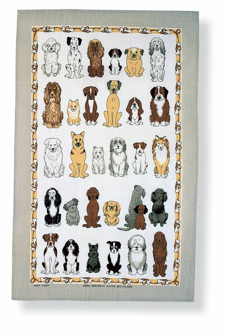 Dogs Arrived Linen Tea Towel #cute #dogs