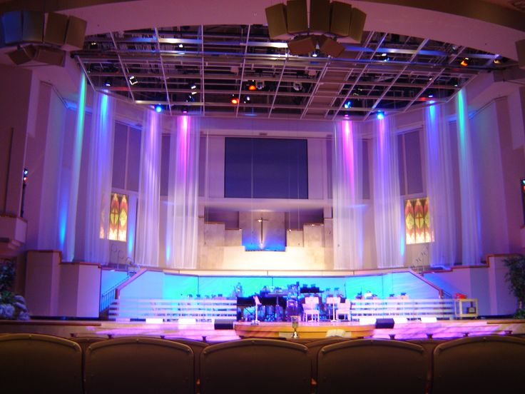 church lighting ideas. i like the sheer banners hanging from ceiling church stagechurch designstage designchurch ideaslighting lighting ideas