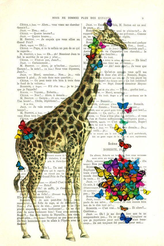GIRAFFE with BUTTERFLY basket giraffe art by MadameMemento