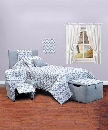 Look what I found on #zulily! Blue & White Chevron Bedroom Set #zulilyfinds