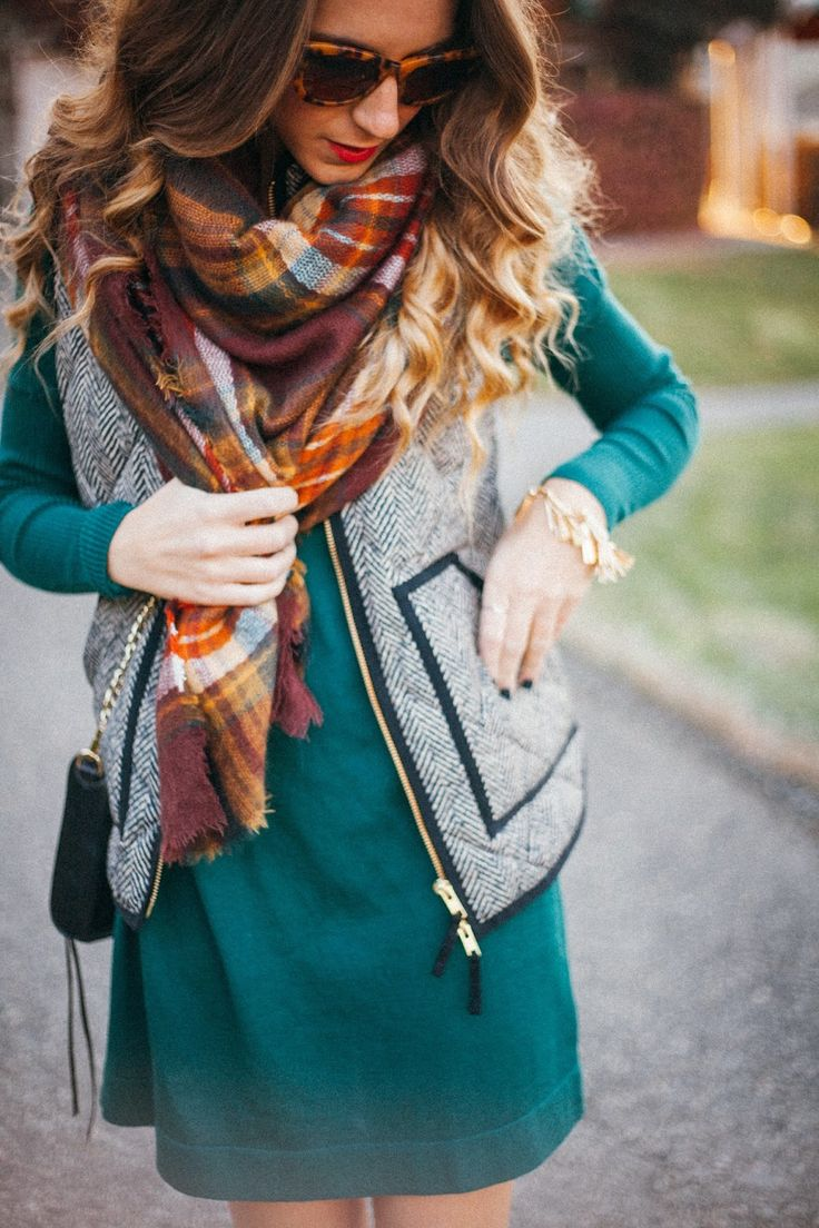 Layer a vest over a dress. Fall autumn women fashion outfit clothing style apparel @roressclothes closet ideas