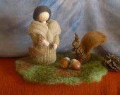 Autumn Fairy and squirrel, Natural dye wool, Handmade, Waldorf inspired, Kids room decor