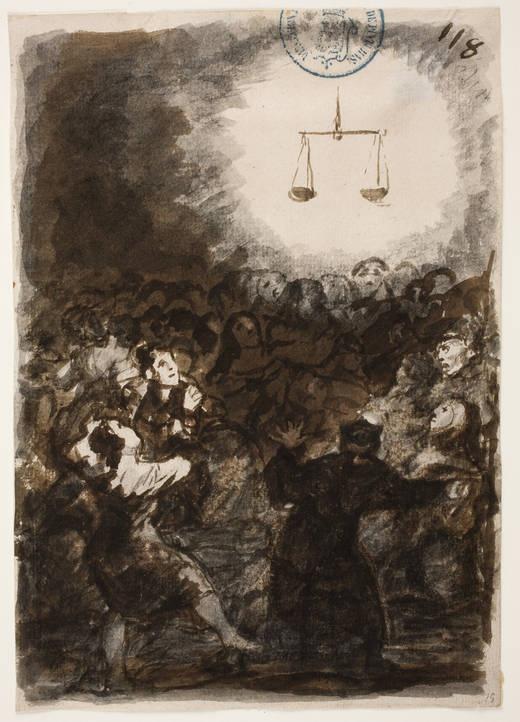 Triunfo de la Justicia. Álbum C, 118. En este dibujo se representan las reacciones que provoca la llegada de la Justicia como consecuencia de la instauración de la Constitución. La balanza, que resplandece como un sol que todo lo ilumina, causa admiración y alegría entre sus partidarios, a la izquierda, y temor, entre sus detractores, a la derecha.