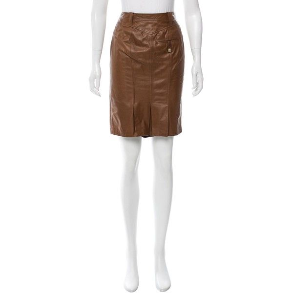 Pre-owned Versace Medusa Pencil Skirt ($200) ❤ liked on Polyvore featuring skirts, brown, real leather skirt, white knee length pencil skirt, white leather skirt, white pencil skirt and brown pencil skirt