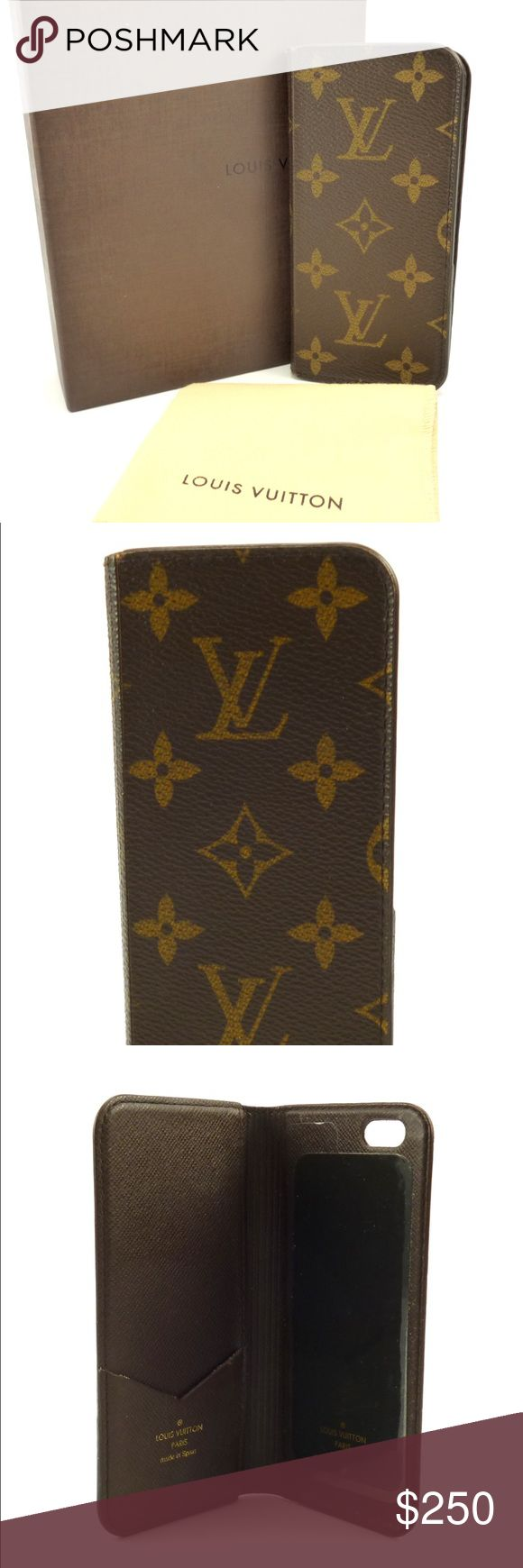 Louis Vuitton Auth iPhone 6/6s Monogram Folio Case Iconic Louis Vuitton Monogram Canvas flip case for the iPhone 6 or 6s. The function adhesive surface holds your phone securely in place with an interior pocket to hold cards or bills. In wonderful condition and comes with original LV box and dust cloth. Guaranteed Authentic. Date Code: BC4125 (Spain 2015) Please feel free to ask any questions. Sorry no trades. 103350 Louis Vuitton Accessories Phone Cases