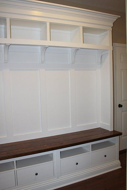 IKEA-- entryway storage made from IKEA furniture