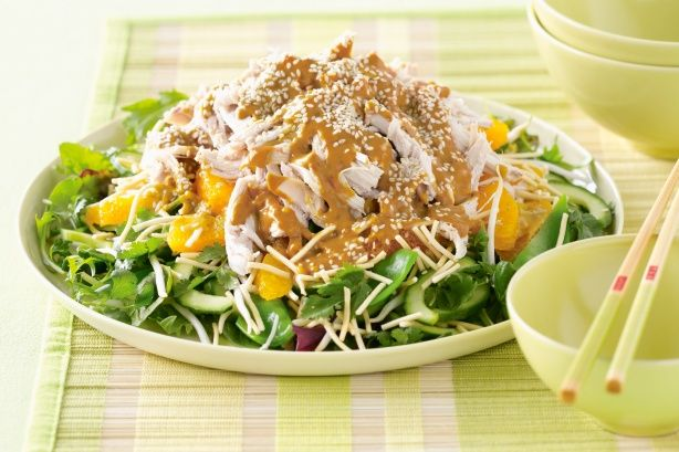Crunchy Thai chicken salad. If you don't feel like cooking tonight, pick up a roast chicken and use it as the main ingredient in this delicious crunchy Thai salad.