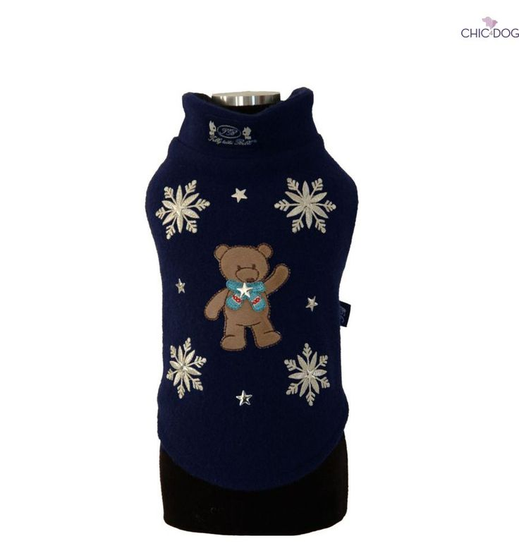 Xmas Teddy Bear - What's Christmas without a teddy bear? <3 #dog sweatshirt decorated with elegant snowflakes | Cos'è Natale senza un orsacchiotto? Calda felpa per cani decorata con fiocchi di neve #Chic4Dog
