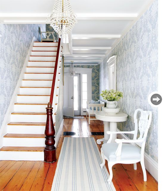 Welcoming Entryway Large Scale Wallpaper In The Entryway Has A Gentle  Palette That Bespeaks The