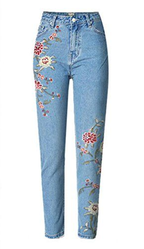 New Trending Denim: Women's Hi Rise Floral Embroidery Jeans Blue US 6 / EU 38. Special Offer: $34.99 amazon.com Zip fly with button closureHigh-waistedBasic 5 pocketsINSEAM: 27″The sizes may run small. Please order 1-2 sizes up