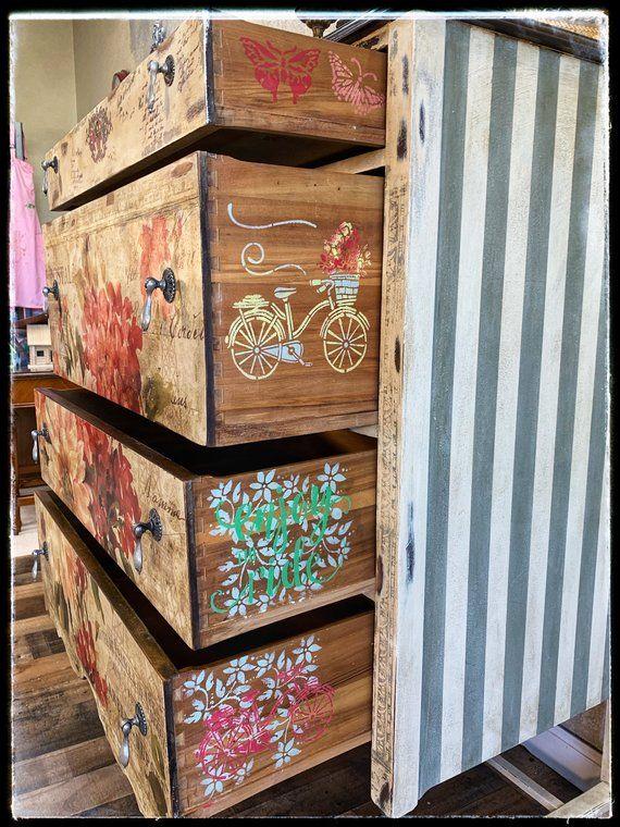 Sold Hand Painted Antique Floral Dresser Repurposed Furniture Furniture Antique Furniture Stores