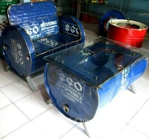 Recycled Drum Set Of Bench & Table