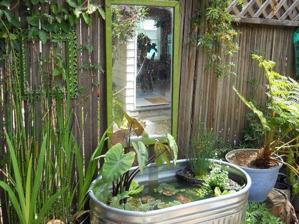 Diy garden container ideas gardens olives and a lady for Container ponds with fish