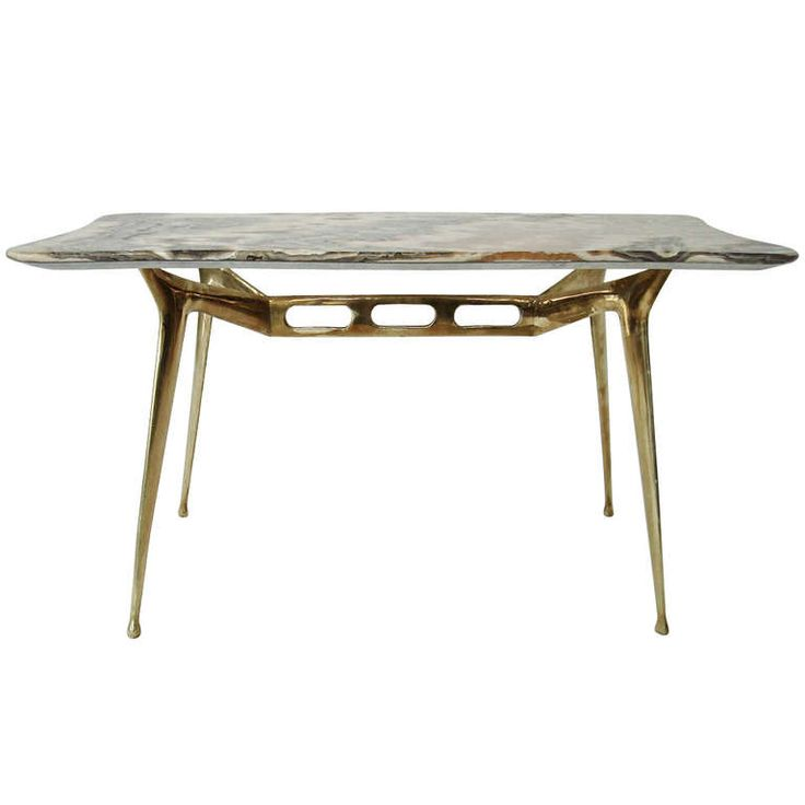 coffee table with brass base and onyx top by