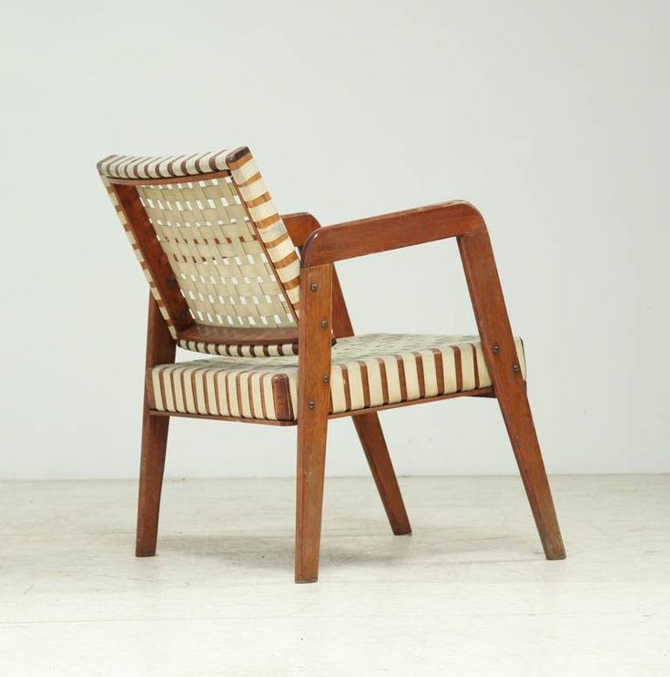 Klaus Grabe; Wooden Armchair With Linen Webbing, 1950s. | CHAIRED |  Pinterest | Armchairs, Linens And Mid Century