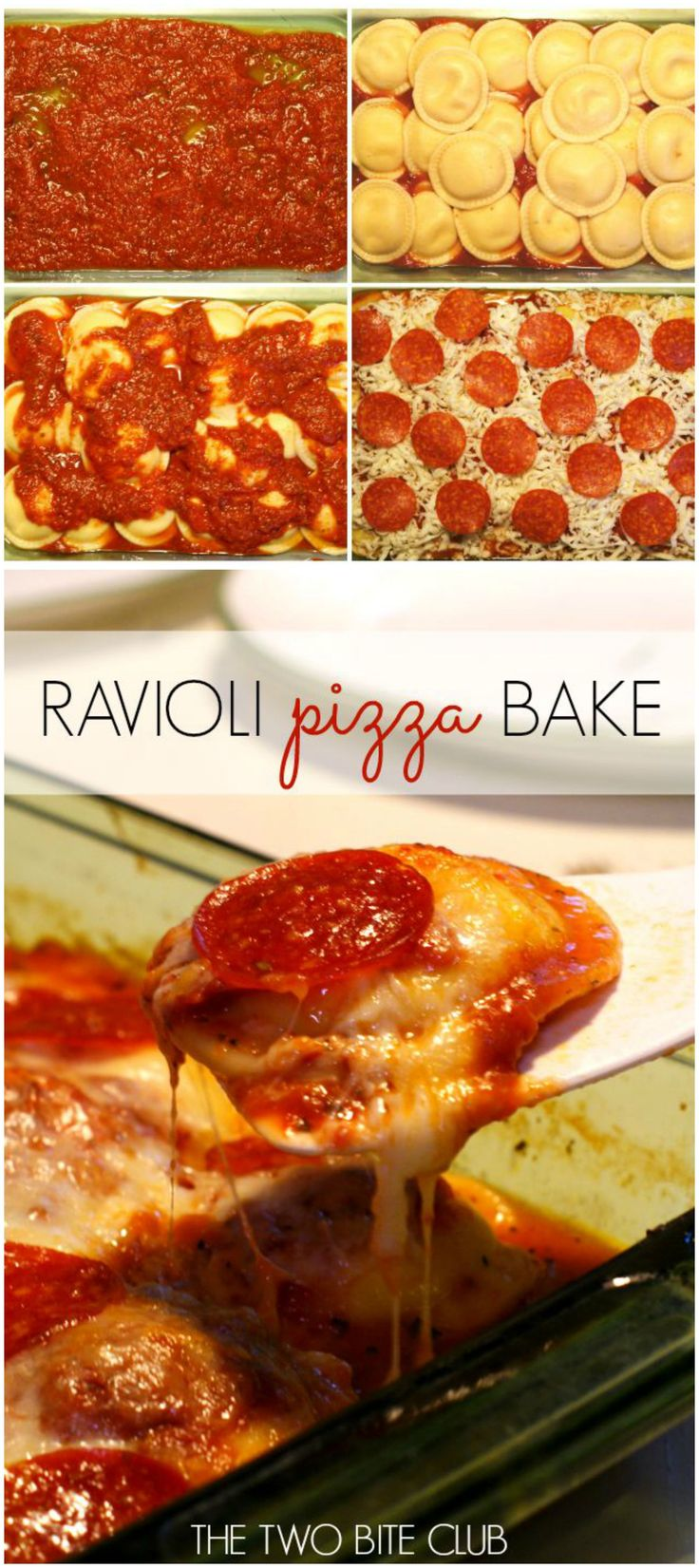 Ravioli Pizza Bake | thetwobiteclub.com
