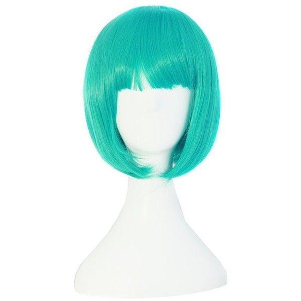 MapofBeauty Cyan Short Straight Cosplay Costume Wig BOB Wig ($8.99) ❤ liked on Polyvore featuring costumes, white halloween costumes, white costume, wig costumes, white wig costume and role play costumes