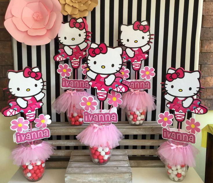 M s de 25 ideas incre bles sobre centros de mesa de hello - Decoracion hello kitty ...