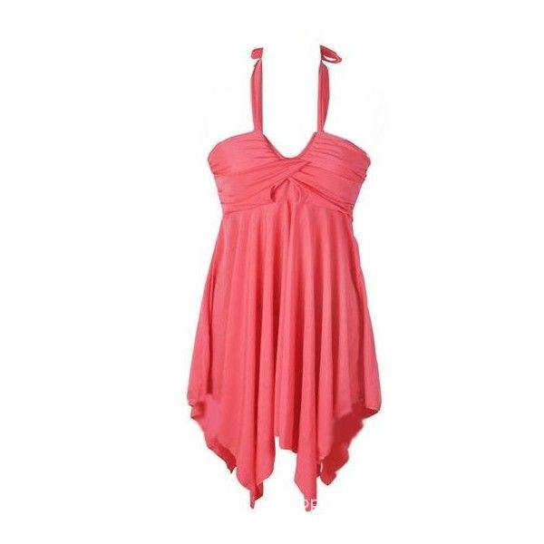 Rotita Coral Pink Halter Tankini Swimsuit Swimdress (130 HRK) ❤ liked on Polyvore featuring swimwear, one-piece swimsuits, red, halter tankini, pink bathing suits, two piece swimsuit, halter one piece swimsuit and 2 piece bathing suits