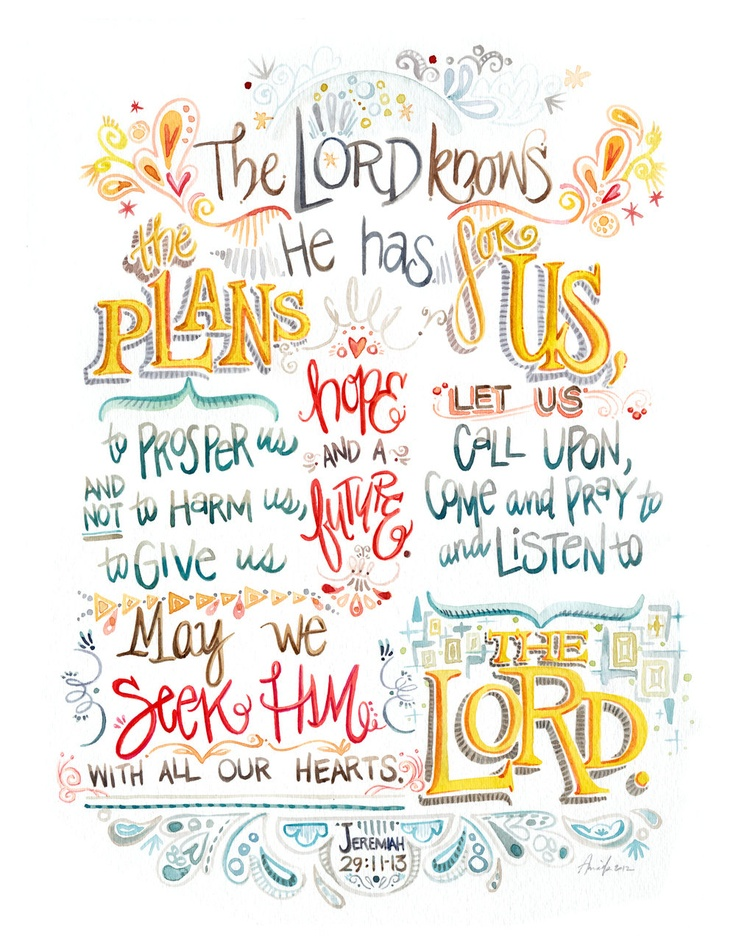 The Lord Knows the Plans - 11x15 - digital print of hand-written ink watercolor typography Bible verse Jeremiah 29 11 hope future dorm. $25.00, via Etsy.