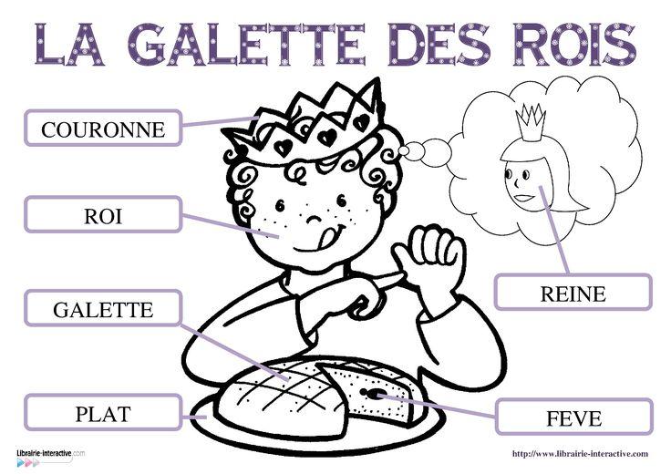 17 fiches pour la maternelle (PS, MS GS) pour découvrir, lire et écrire les mots du vocabulaire de l'épiphanie (roi, reine, galette des rois, fève, part, plat, couronne. ):