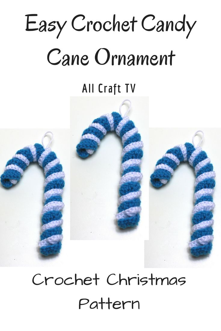 Crochet Christmas Candy Cane Ornament