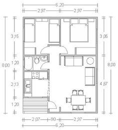 Planos Casas de Madera Prefabricadas: Casas de 50 m2 Cod.00131                                                                                                                                                      Más