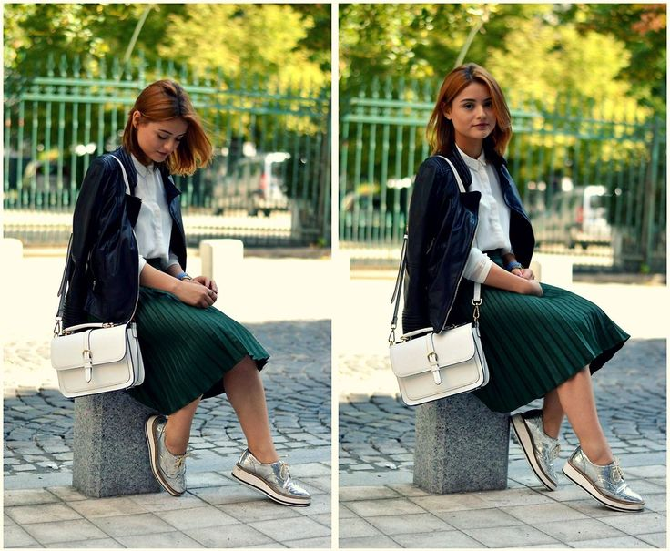 Sardan Bianca - Zara Oxford Shoes, Zara Skirt, Accessorize Bag, Zara White Shirt, Zara Leather Jacket - Autumn colors | LOOKBOOK